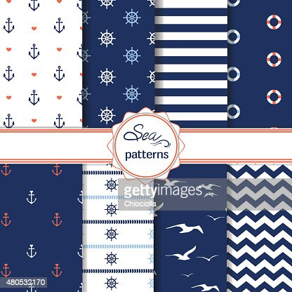 Set of simple cute nautical seamless patterns : Vector Art