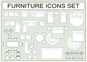 Set of simple furniture vector icons as design elements - sofa, table, computer desk, carpet, wardrobe, bed, chair, plants, armchair. Top view. EPS8
