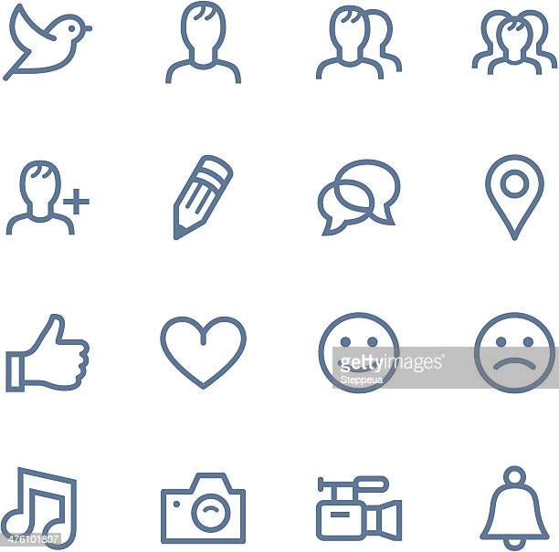 Ensemble d'icônes de médias sociaux simple