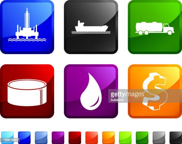 A set of six colored stickers of the fuel supply chain.
