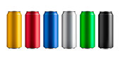 set of six different colored insulated aluminum cans with a drink, vector illustration