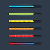 Set of six game resource bar in cartoon style. Vector illustration.