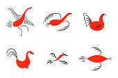 Set of six red birds. National northen paintings. Folk handicrafts. Enchanting original Simplicity. flat duck, goose, hen, fowl, cock, swan, lark, starling For prints poster wallpaper decoration