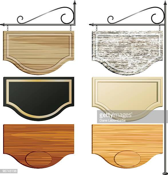 Set of Six Wooden Hanging Sign in different colored Woodgrains