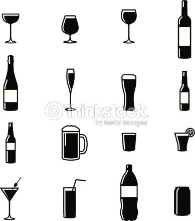 Satz Von 16 Getränke Schwarz Weiße Silhouette Vektorillustrationen ...
