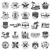 Set of skateboard, longboard and surf club badges. Vector illustration. For surf and skate club emblems, signs and t-shirt design. Vintage typography design. Extreme sport.