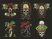 Set of skateboarding emblems in colour vintage style. Vector illustration.