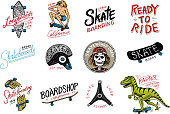 Set of Skateboarding labels logo. Skater Dinosaur tyrannosaur rex rides on the board.. Urban design for badges, emblems t-shirt typography. engraved hand drawn sketch in monochrome vintage style