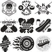Set of skateboarding labels - skull in helmet, repair shop, skate team, board shop, etc. Vector illustration