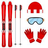 Set of skiers. Flat design, vector illustration, vector.