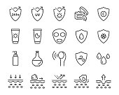 set of skin line icons, facial sun block icon, facial mask