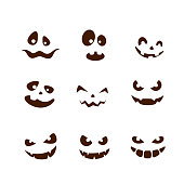 Set of facial expressions for Halloween with smile on white background, illustration.