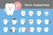 Vector illustration of different cheerful and sad teeth characters.