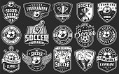 Set of soccer emblems in monochrome style. Vector illustration