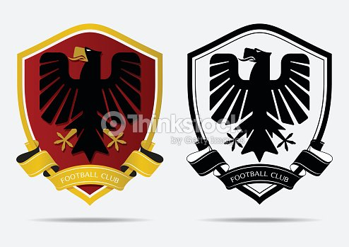 Set of soccer football badge icon design template sport team set of soccer football badge icon design template sport team identity minimal design of eagle in golden border on red shield football club icon in black maxwellsz