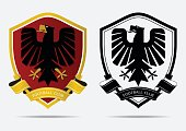 Set of Soccer Football Badge icon Design Template. Sport Team Identity. Minimal design of eagle in golden border on red shield. Football club icon in black and white icon. Vector Illustration.