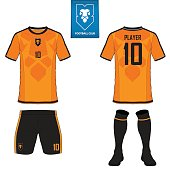 Set of soccer kit or football jersey template for football club. Flat football on blue label. Front and back view soccer uniform. Football shirt mock up. Vector Illustration.