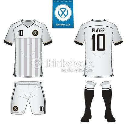 set of soccer kit or football jersey template for football club flat