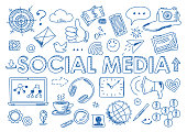 Hand drawn design vector illustration, set of social media, social networking, web communtity and posting news icons in doodle style, for graphic and web design
