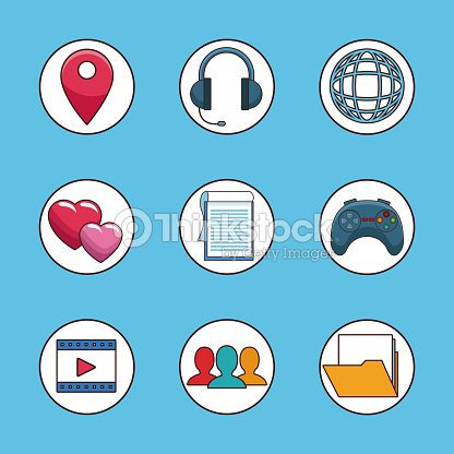 Set Of Social Network Symbols Vector Art Thinkstock