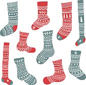 vector set of cute hand drawn socks with patterns on isolated background