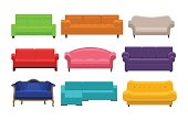 Set of colorful sofa. Icon collection of furniture for an house interior, living room: classic, modern and vintage couches, settee with soft cushion. Vector flat illustration isolated on white