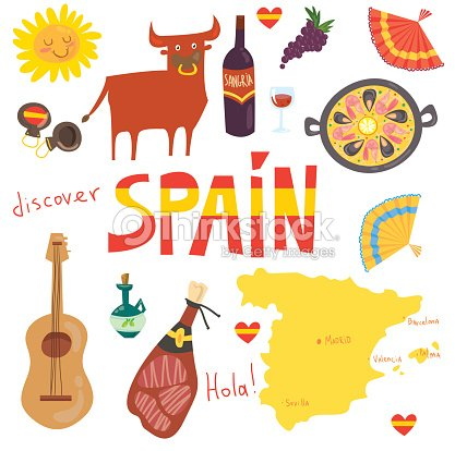 Spain seamless repeating pattern with spanish symbols ...