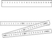 Set. Folding ruler and metallic ruler. Design of gradient gray.