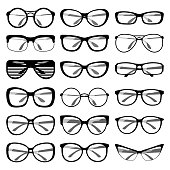 Set of different shapes of spectacle frames. Men and women sunglasses, eyeglasses frames for vision care. Vector