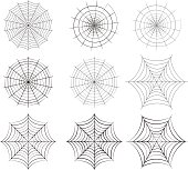 Set of spider web in silhouette style, isolated vector