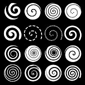 Set of spiral motion elements, white isolated objects, different brush textures, vector illustrations