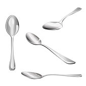 Set of spoons isolated on white background, illustration.
