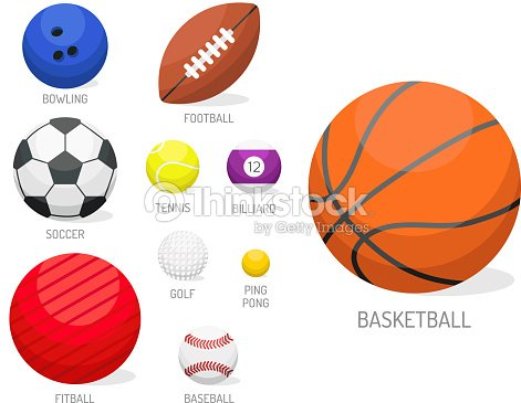 Set of sport balls collection tournament win round basket soccer equipment vector illustration