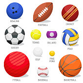 Set of balls isolated on white background. Collection tournament win round basket soccer equipment. Recreation leather group traditional different design.