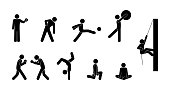 set of sport icons, people play various games, stick figure man pictogram, ball games, boxing and sport dancing