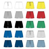 Set of sport shorts pants design template. Technical sketch Fashion vector illustration on grey background. White, gray, black, blue, yellow, red, green colors. Melange and stripes fabric