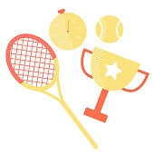 Set of sports equipment: tennis racket, ball, stopwatch and winner cup.