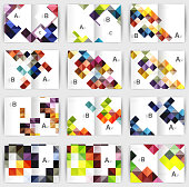 Set of square geometrical business brochure templates. Color origami style glossy squares on a4 size annual report covers