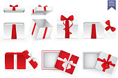 Set of square gift boxes with satin ribbons and bows. Eps10