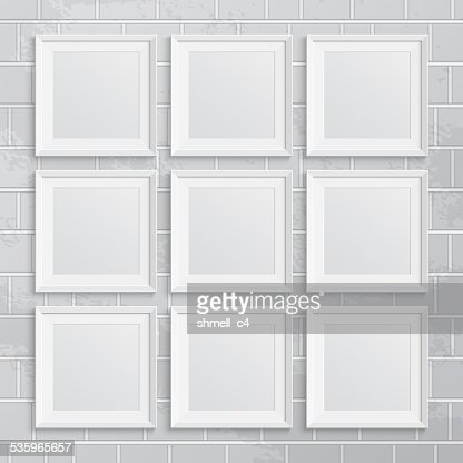 Set of square picture frames on brick wall : Vector Art