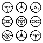 Steering wheel illustrations of cars with various types