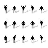 Set of stick figures, black men silhouettes on a white background in various poses and positions. Icons people, vector illustration.