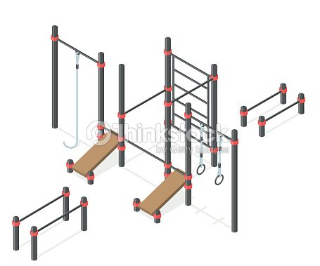 Set of street workout area elements.