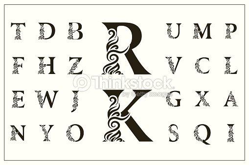 Set Of Stylish Capital Letters Vintage Logos Filigree