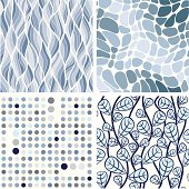 Set of waves, swirl, polka dots and floral backgrounds in blue colors