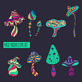 Set of stylized magic mushrooms. Fairy mushrooms. Acid colours vector