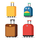 Set of suitcases for men, women, teenagers and children. Travel bags signs. Vector illustration icons in flat style isolated on white background
