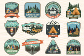 Set of Summer camp badges. Vector. Concept for shirt or , print, stamp, patch or tee. Vintage typography design with rv trailer, camping tent, campfire, bear, man with guitar and forest silhouette