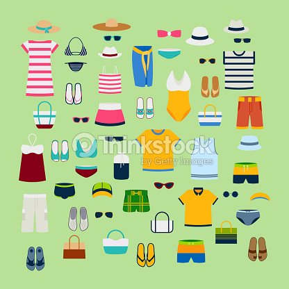 info for a9757 626d1 Set Sommerkleider Und Accessoires Vektor Illustration Mode ...