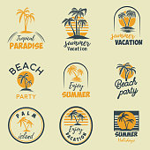 Set of summer emblems and design elements. Design element for  label, poster, print, card, banner, sign. Vector image